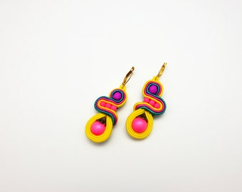 Neon pink and yellow soutache jewelry small dangle drop earrings embroidered clip-on soutache earrings