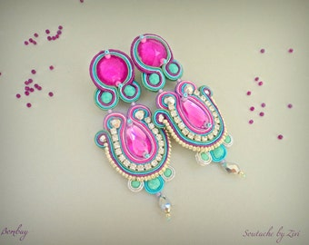 Statement Long Colorful Soutache Earring, Teal-Purple-Fuchsia Rhinestones Earring, Bollywood Soutache Earring, Colorful Chandelier Earring