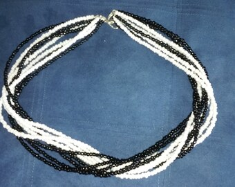 9 strand 20' necklace in black and white Seed Beads FREE SHIPPING