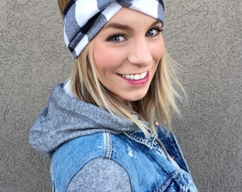 Checkerboard Flannel Turban Twist Headband // Black and White Buffalo Plaid // Buffalo Check // Checkered
