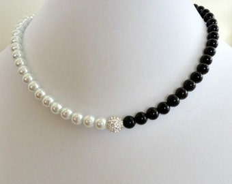 Black and White Necklace Yin Yang Black and White Pearl Necklace Classy Elegant Contemporary Wedding Party Trendy Unique Gift
