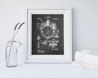 Gyrocompass Patent Poster, Nautical Decor, Aviation Wall Art, Nautical Compass, Compass Wall Art, PP0067