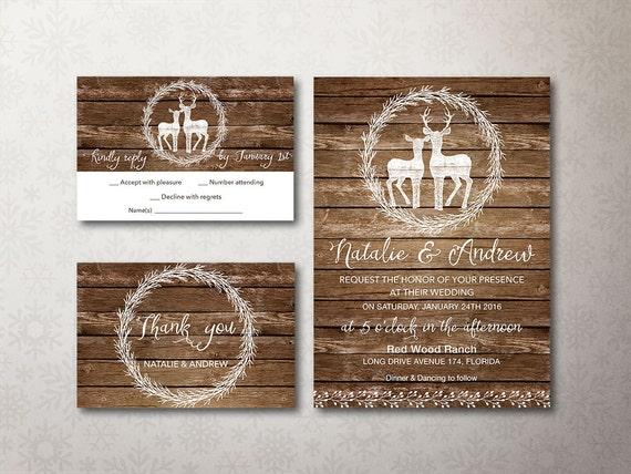 Deer Wedding Invitations: Rustic Wedding Invitation Printable Fall Winter Wedding