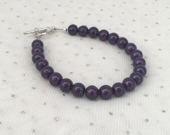 Plum Pearl Bracelet, Plum Wedding Jewelry, Plum Purple Bridesmaid Jewelry, Dark Purple Wedding Bracelet, Jewelry Gift, Deep Purple Bracelet