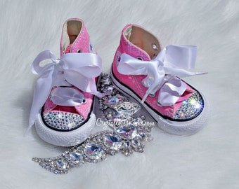 Converse All Star high tops w Swarovski Crystals Pink & White Size 2-10 infant