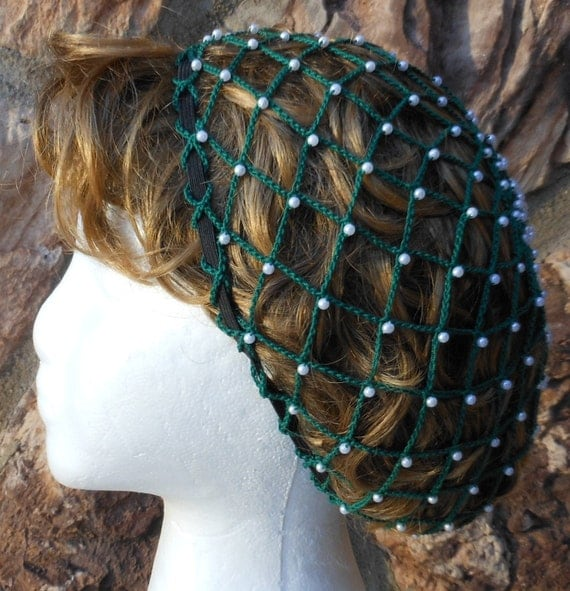 Beaded Snood Hair Net Black With Pearls By Aprilsbag On Etsy