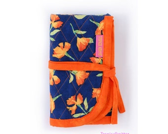 Circular Knitting Needle Case - Navy Blue and Orange
