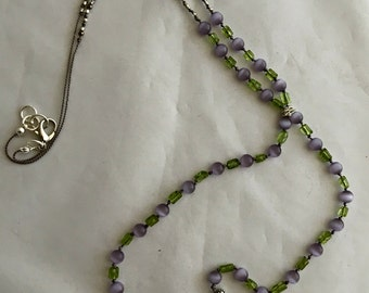 Lilac jade silver double dangle necklace.