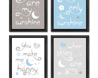 you are my sunshine baby decor moon and stars, nursery quotes moon and stars, kids quotes, moon and stars nursery, sunshine nursery decor