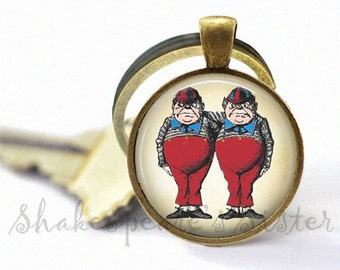 Tweedledee and Tweedledum  - Alice in Wonderland Key Chain - Pendant Key Chain - Keychain - Key Fob