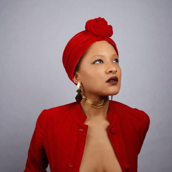 Velvet Sunrise Turban: red velvet turban by SarahSokolMillinery