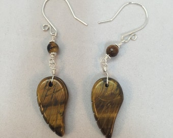 Angel Wing Earrings, Tiger Eye Earrings, Carved Angel Wings, Tiger Eye Wings, Semiprecious Stone, Natural Stone, Choice of Stone, Healing