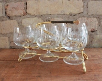Vintage brandy snifter with holder, set of 6 glasses, mid century, 50s glasses, 60s barware, drink, brandy glasses