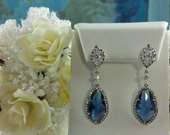 Sapphire Earrings, Dark Blue CZ Earrings, September Birthstone, Wedding Gift, Blue Maid of Honor, Blue Bridesmaid, Sapphire Bridal, E2033