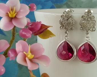 Ruby Pink Earrings, Pink Teardrops, Fancy CZ Studs, Fuchsia Crystal Earrings, Hot Pink Bridesmaids, July Birthstone, Ruby Earrings, E2108