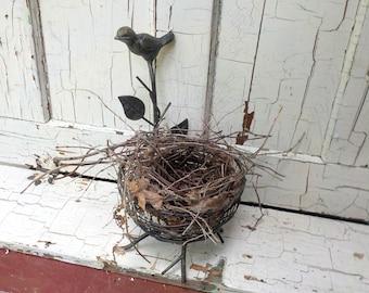 "Bird Nest iron Basket With Natural Woodland Nest, Cast Iron, 10"" X 6"" Rustic Decor, Education"