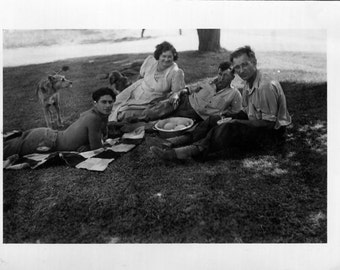 Vintage Photo..Summertime Picnic 1940's, Original Photo, Old Photo Snapshot, Vernacular Photography, American Social History Photo