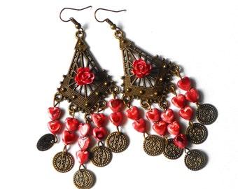 Boho Chandelier Rose Earrings Dangling Shell Heart Charms Bohemian Jewelry FREE SHIPPING