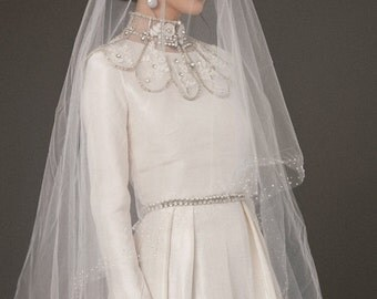 Soft Bridal veil of lightweight tulle with bugle beads 0734
