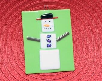 Fused Glass Snowman Ornament - Christmas Tree Ornament - Fused Glass Snowman - Marshmallow Snowman Ornament - Snowman Suncatcher