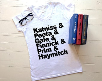 Hunger Games Women's Graphic Tee | V-Neck Tee | Katniss | Peeta | District 12 | Gift | Birthday | Mockingjay