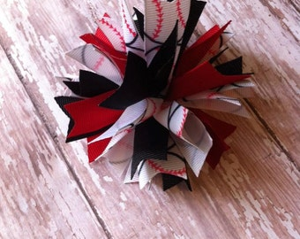 Baseball Pom Pom Hair Bow
