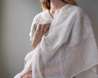 Hand loomed Cotton Shawl - White