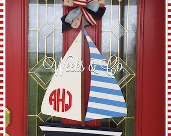 Sailboat with Circle Monogram Boy Nursery Hanger Front Door Beach House Lake House