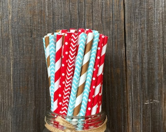 100 Light Blue, Red, Brown Stripe and Polka Dot Straws - Birthday Party- Sock Monkey- Picnic Supply, Free Shipping!