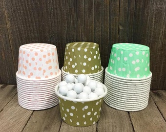 Mint, Gold and Peach Paper Snack Cups - Set of 48 - Dot Candy Cup - Birthday Party - Mini Ice Cream Cups - Paper Nut Cup - Same Day Shipping