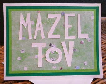 Mazel Tov Greeting Card Green