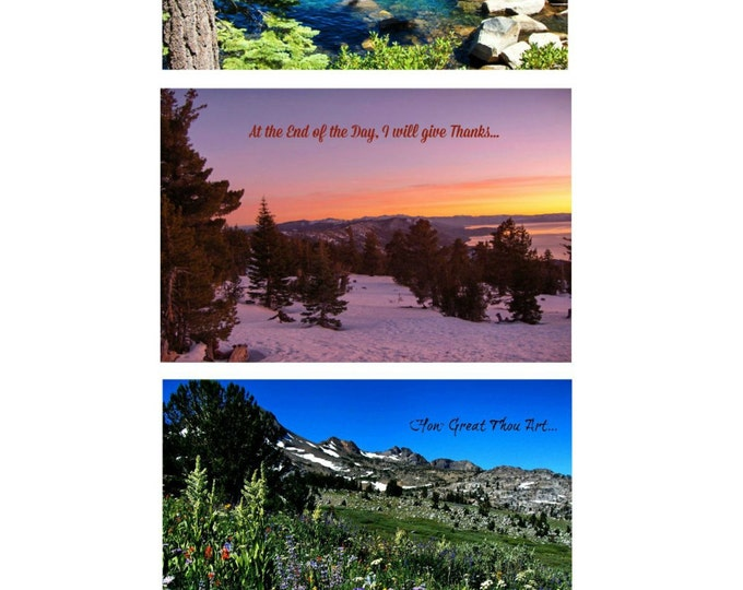 INSPIRATIONAL Greeting Card set created by Pam Ponsart of Pam's Fab Photos: 2 each of 3 scenes with printed text