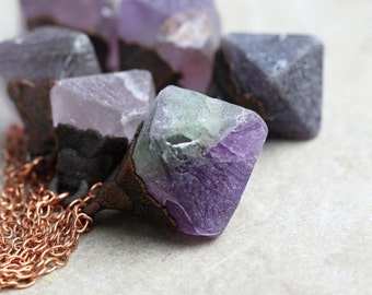 Stone Necklace Electroformed Copper Fluorite Pendant Crystal Pendant Purple Fluorite Raw Gemstone Mineral Jewelry