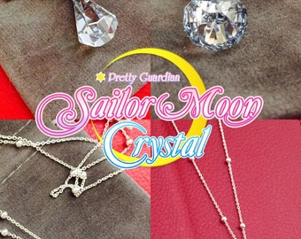 Sailor Moon Silver Crystal Necklace Millennium Swarovski 925 Silver Plated Serena Usagi Chibiusa Cosplay Medium Size