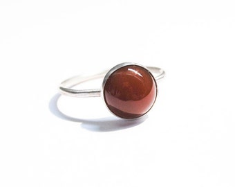 Handmade Carnelian ring, sterling silver ring, stacking ring, 10mm cabochon ring