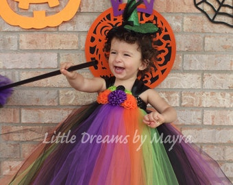 Halloween tutu outfit, witch tutu dress and matching hair piece size nb to 4T