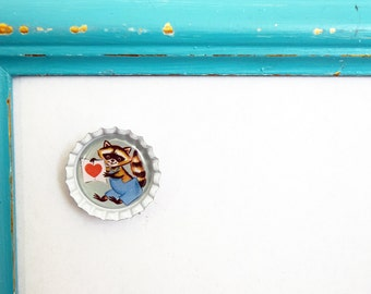 Super Cute White 1 Inch Magnet with an Adorable Retro Vintage Valentine Raccoon Design