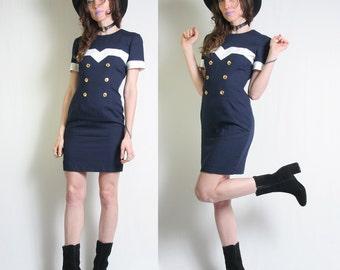 Sailor Dress - 80s Dress - Tailored Dress - Mini Dress - Donna Ricco - 90s Dress - Nautical - Navy Blue Dress  Vintage Womens Sailor Dress