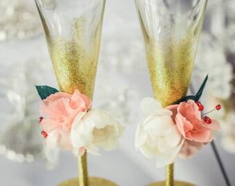 Blush Pink Wedding Glasses Engraved Champagne Flutes Flower Wedding Champagne Flute, Toasting Glasses Champagne Glasses Glitter Gold Flutes