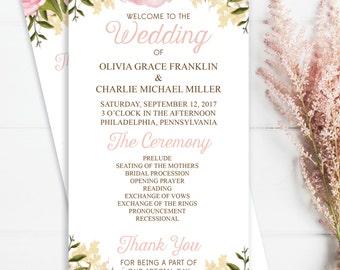 Wedding Programs - Pink Floral 4x8 Wedding Program - DIY Printable Editable Wedding Program - DIY 4x8 Program - Instant Download