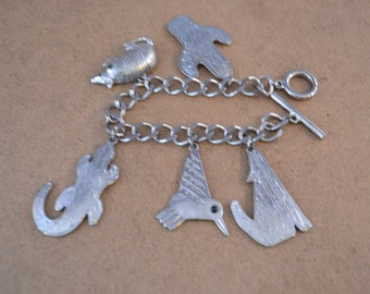 JJ Southwest Pewter Silver Tone Bracelet With Five Charms
