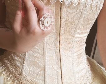 Shabby Chic Button Ring ~ Vintage Lace & Fabric Button ~ Handmade by The Ivory Dolls
