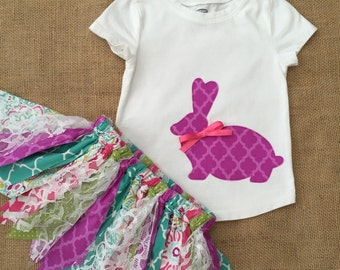 Girls Bunny Outfit, Girls Easter Outfit, Bunny Shirt with Fabric Tutu Skirt, Purple Green Pink and Lace