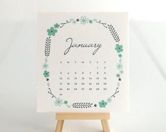 2016 Desk Easel Calendar–Botanical Wreath