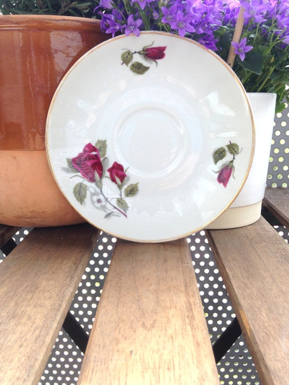 Vintage Walbrzych Polish Saucer with Rose and Bud Pattern