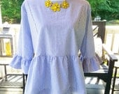 womens top the Carolina top shown in light blue classic seersucker size xlarge only custom made by Collyn Raye