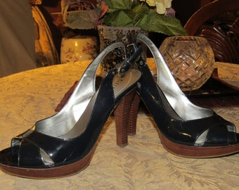 Navy Blue Open Toe Sling Back High Heels - Size 7 1/2 M