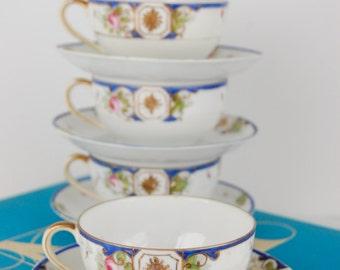 Nippon Tea Cups - Vintage Nippon Tea Cups & Saucers - Hand Painted Tea Cup