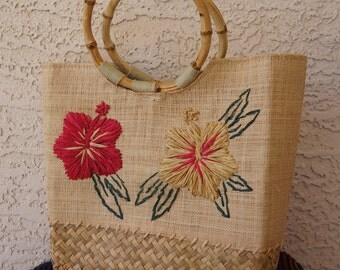 25% OFF COUPON CODE: CEESALE25 Vintage Straw Raffia Floral Purse w/ Bamboo Handles