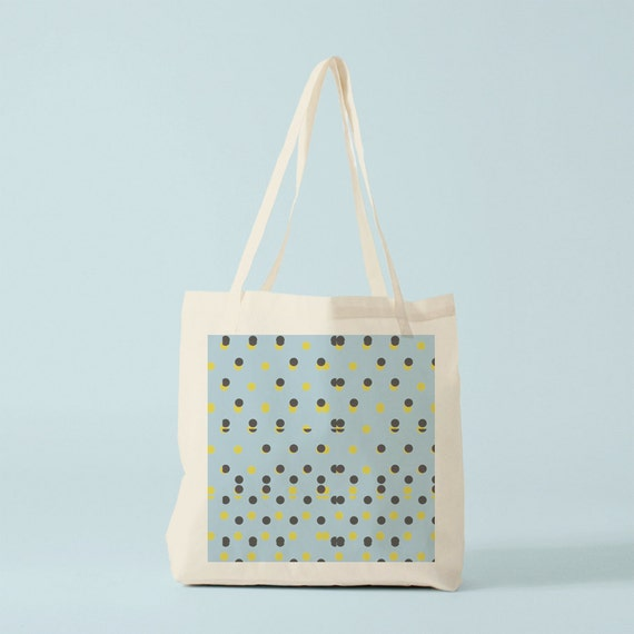 Tote Bag, Polka Dots, blue yellow, canvas bag, cotton bag, groceries bag, laptop bag, shopper bag, novelty gift, gift for coworker.